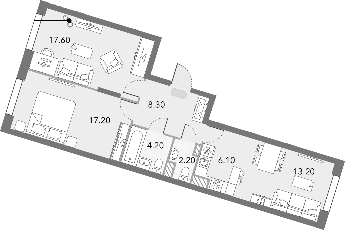 3Е-комнатная, 68.8 м²– 2