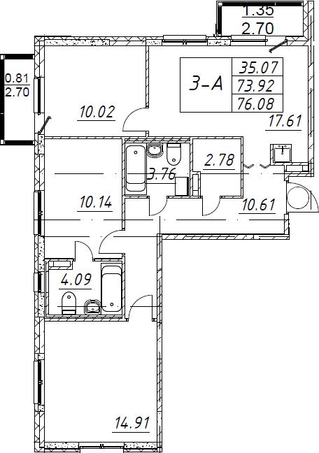 3-к.кв, 76.08 м², от 2 этажа