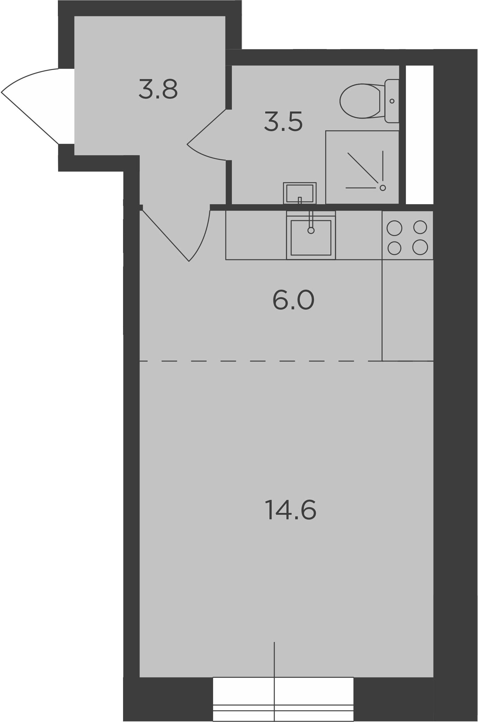 Студия, 27.9 м², 1 этаж