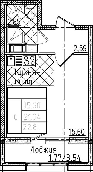 Студия, 22.81 м²