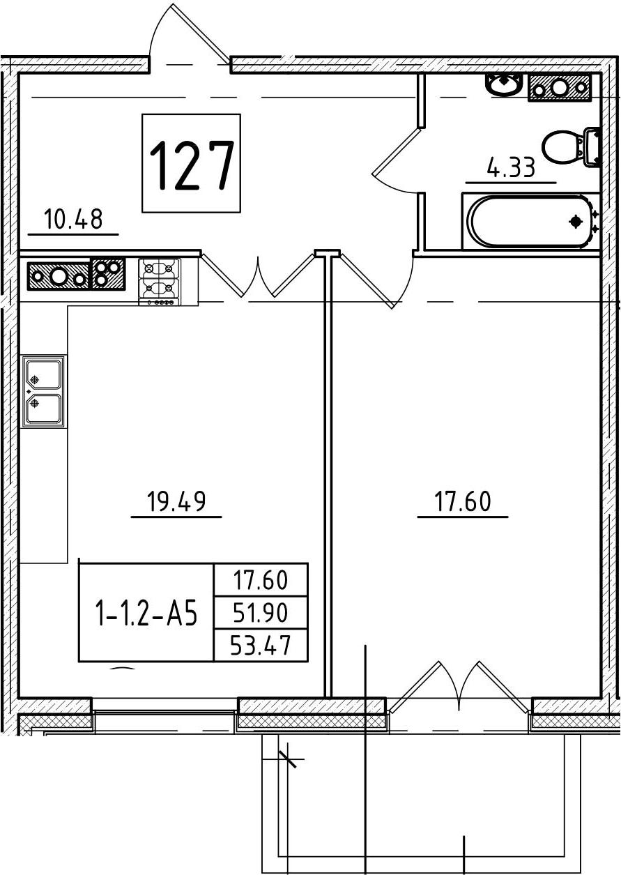 2Е-комнатная, 53.47 м²– 2