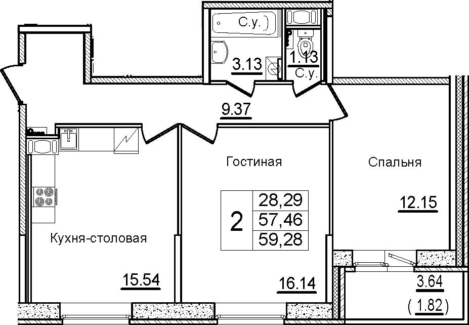 3Е-к.кв, 59.28 м²