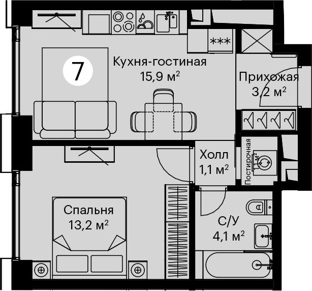 2Е-комнатная, 38.6 м²– 2
