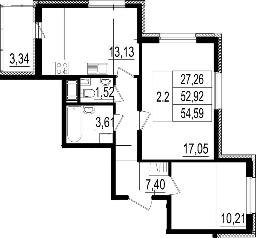 2-к.кв, 52.92 м²