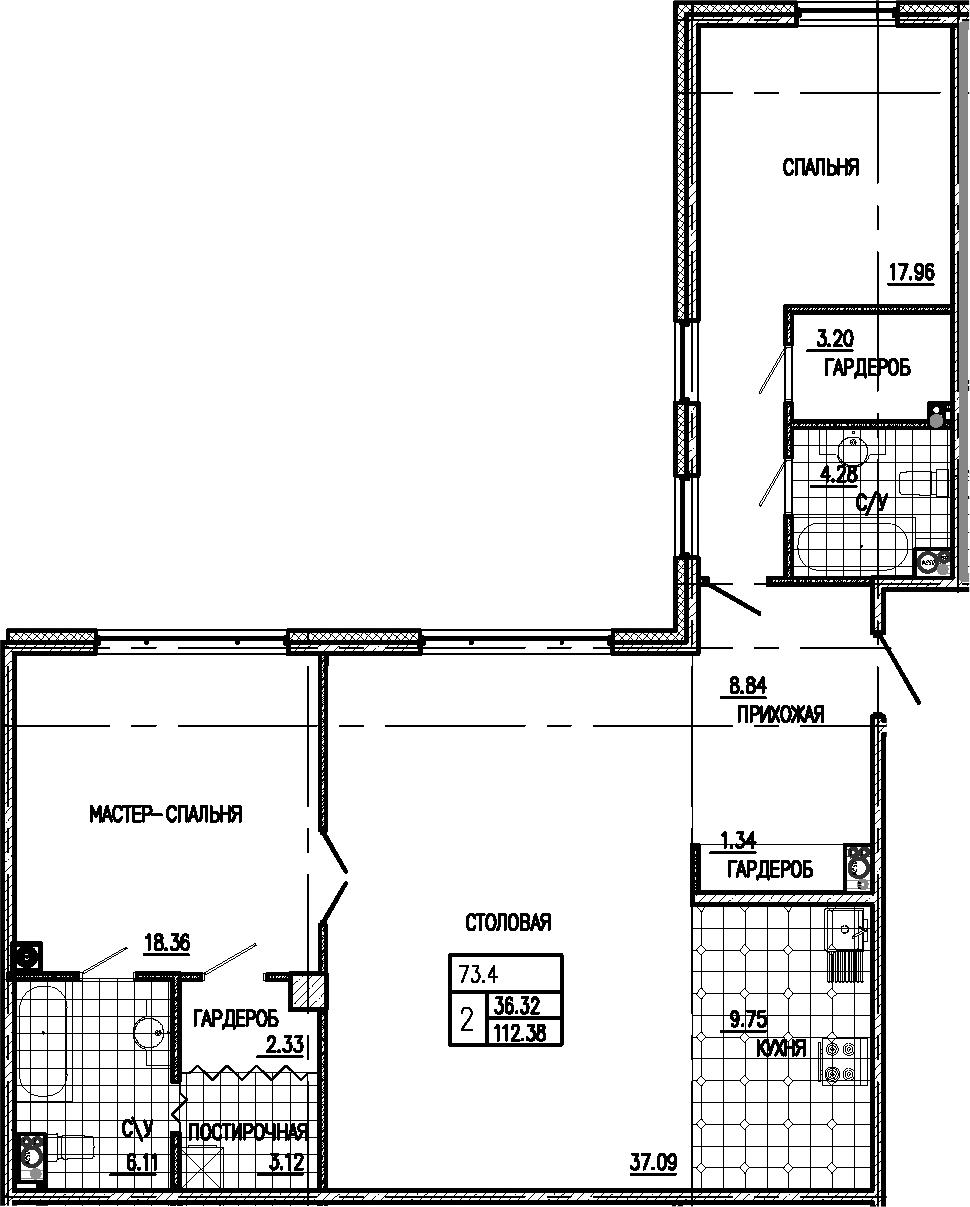 3Е-комнатная, 112.38 м²– 2