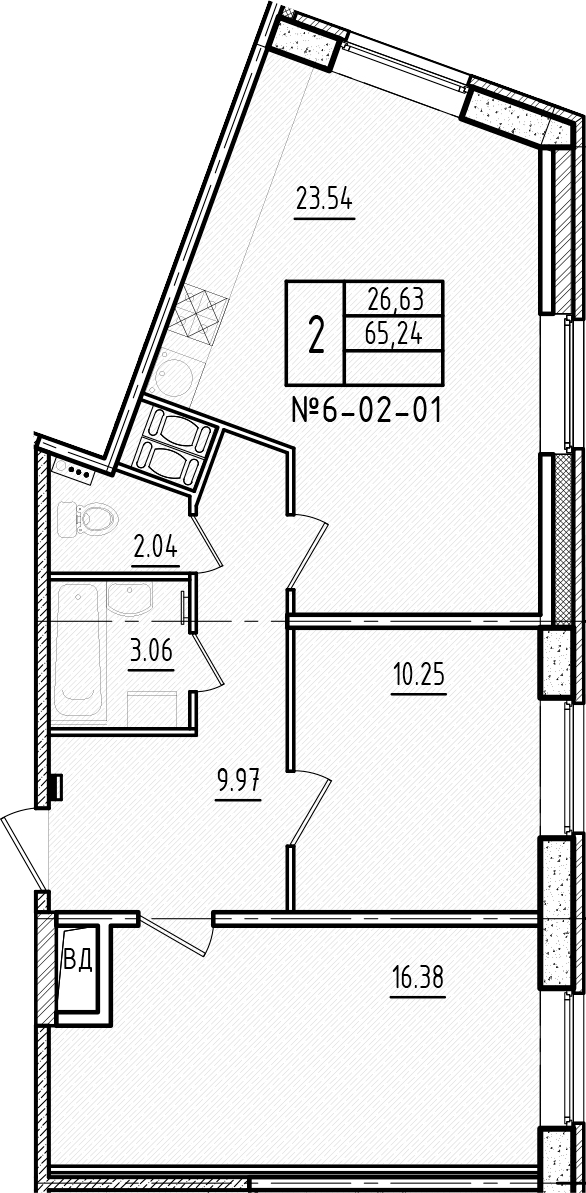 3Е-комнатная, 65.24 м²– 2
