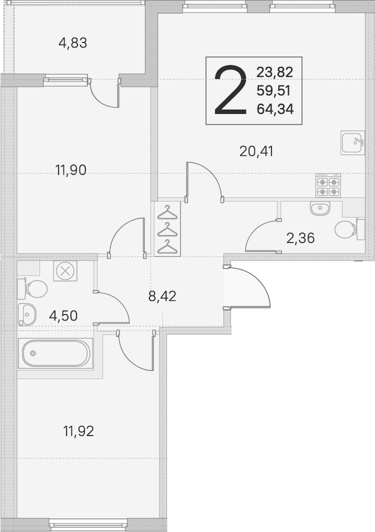 3Е-комнатная квартира, 59.51 м², 1 этаж – Планировка