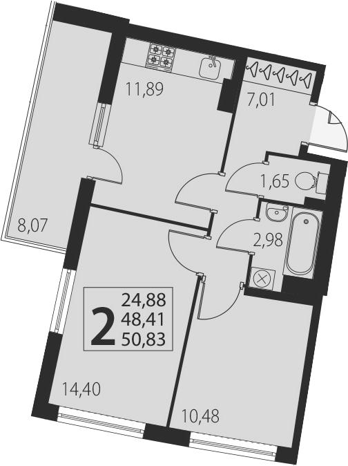 2-комнатная, 50.83 м²– 2