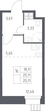 Студия, 25.11 м²