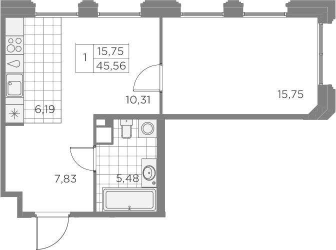 2Е-к.кв, 45.56 м², 8 этаж