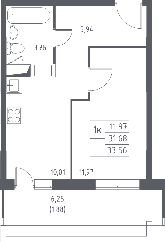 1-к.кв, 37.95 м²
