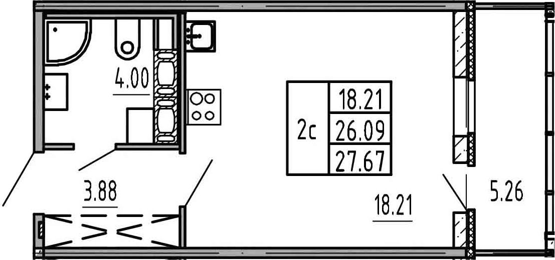 Студия, 31.35 м²