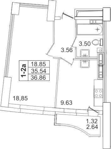 1-к.кв, 37.33 м²