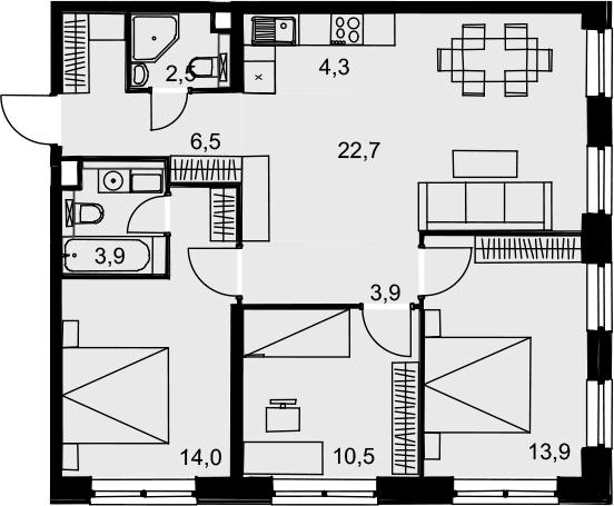 4Е-к.кв, 82.2 м², 13 этаж
