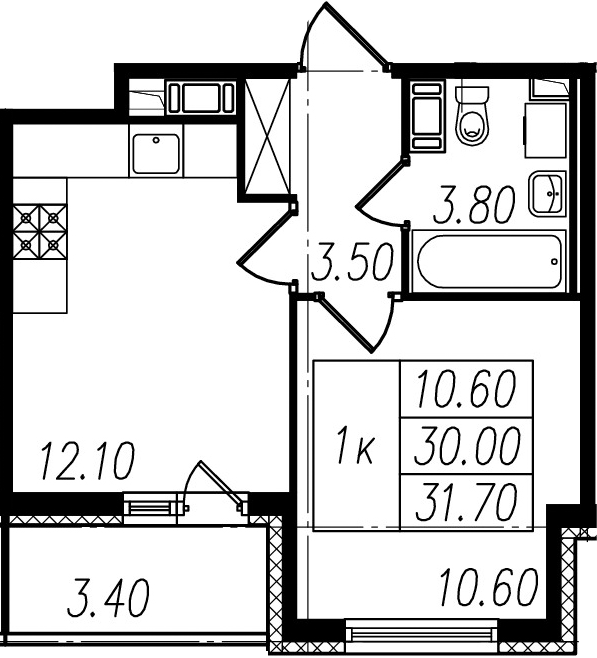 2Е-к.кв, 30 м²