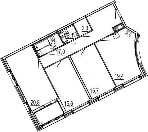4Е-к.кв, 99.3 м², 6 этаж