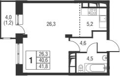 Студия, 44.6 м²
