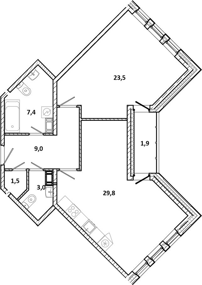 2Е-к.кв, 76.1 м²