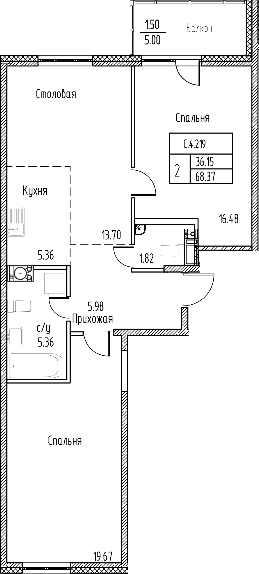 2-к.кв, 73.37 м²