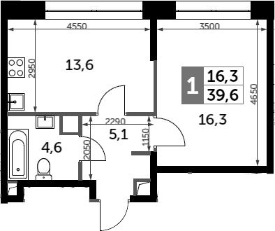 1-комнатная, 39.6 м²– 2