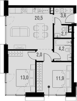3Е-комнатная, 57.3 м²– 2