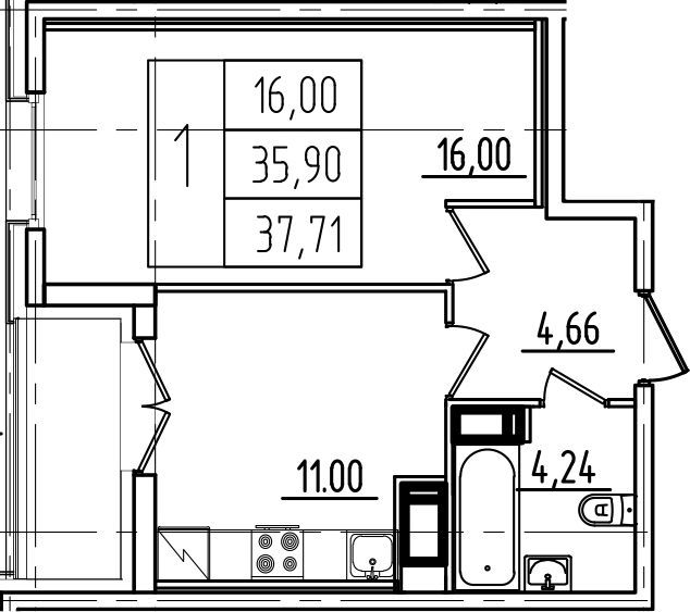 1-комнатная, 37.71 м²– 2