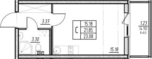 Студия, 25.95 м²