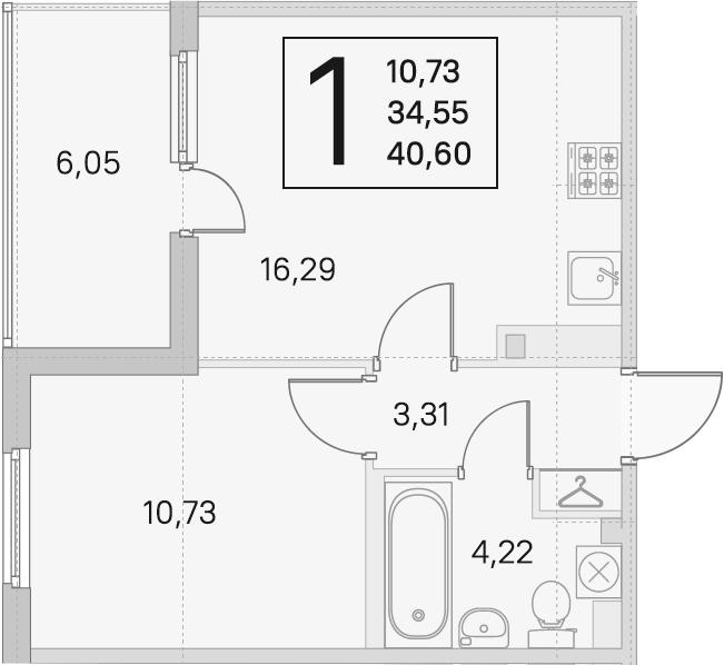 2Е-к.кв, 34.55 м², 2 этаж