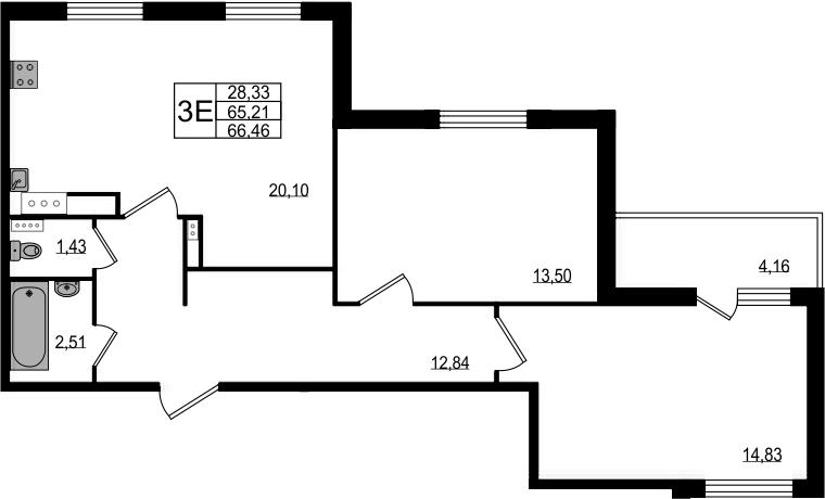 3-к.кв (евро), 69.37 м²