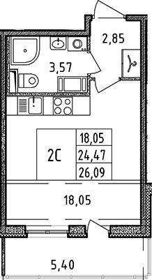 Студия, 24.47 м², 7 этаж