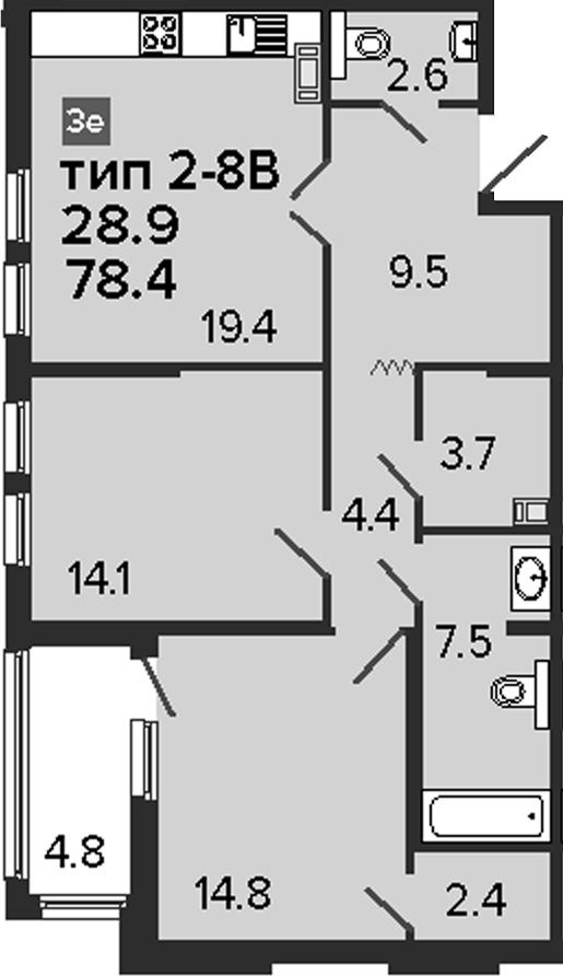3Е-к.кв, 78.4 м², 8 этаж