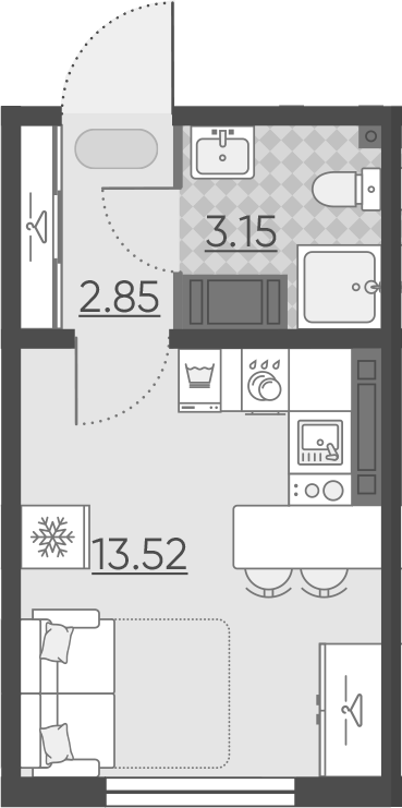 Студия, 19.52 м²– 2