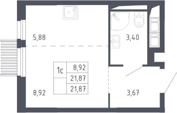 Студия, 21.87 м²