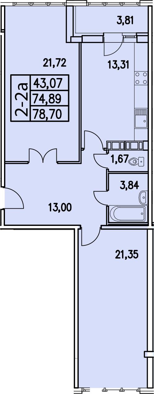 2-к.кв, 78.69 м²