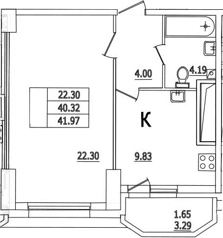 1-комнатная, 41.97 м²– 2