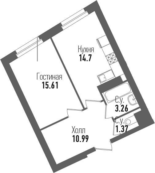 1-к.кв, 45.93 м²
