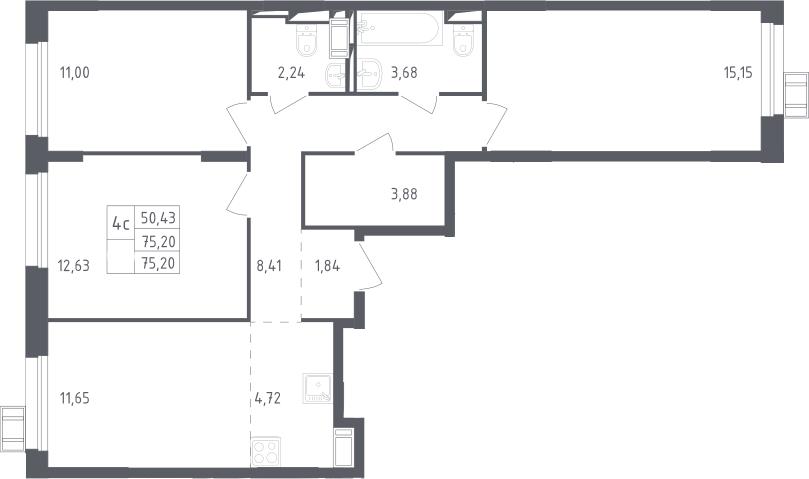 4Е-к.кв, 75.2 м², 12 этаж