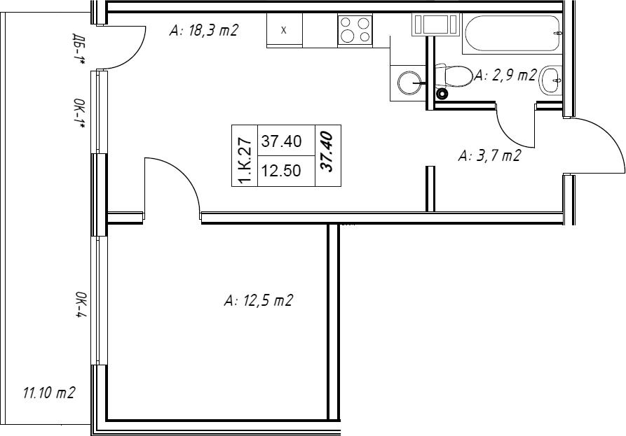 2Е-к.кв, 37.5 м²