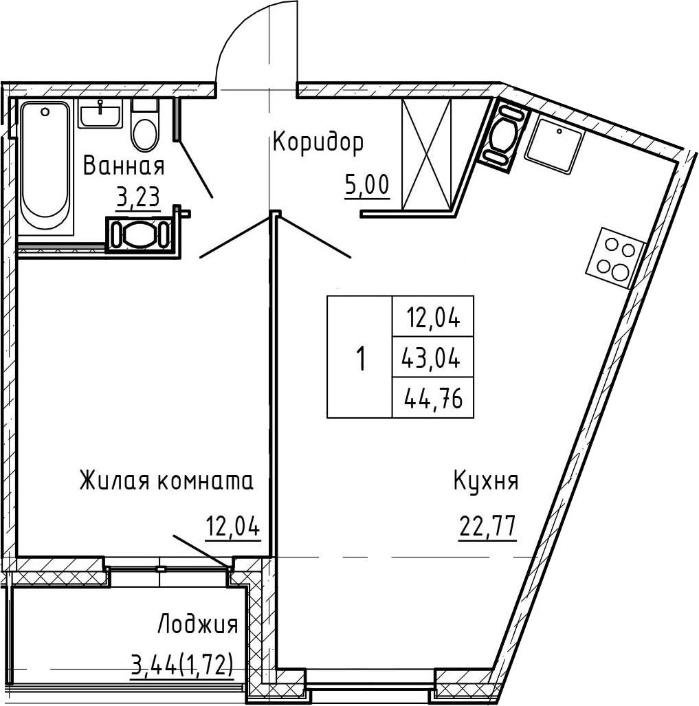 2Е-к.кв, 44.76 м², 2 этаж