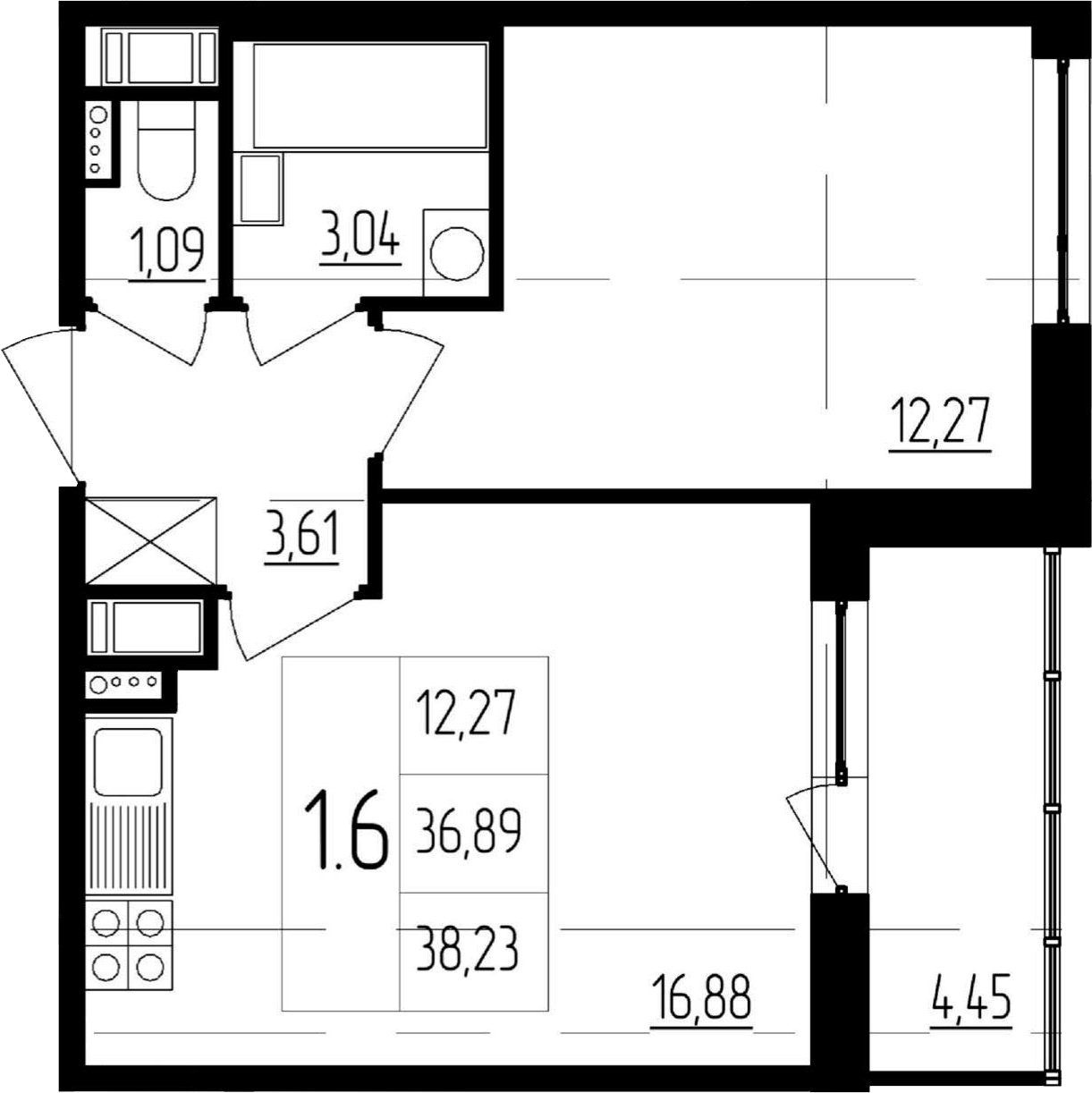 2Е-комнатная, 36.89 м²– 2