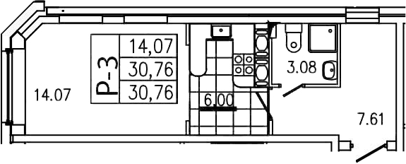 Студия, 30.76 м²– 2