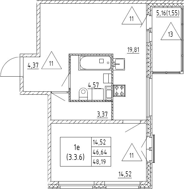 2Е-к.кв, 48.19 м², от 3 этажа