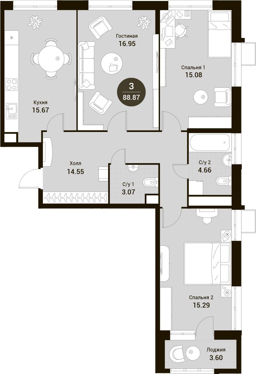 4-к.кв (евро), 92.47 м²