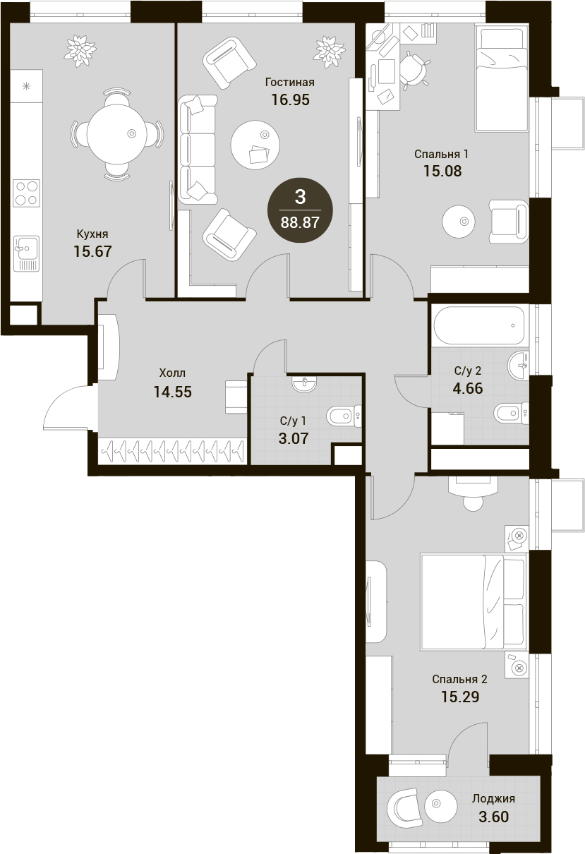 4Е-к.кв, 88.87 м²