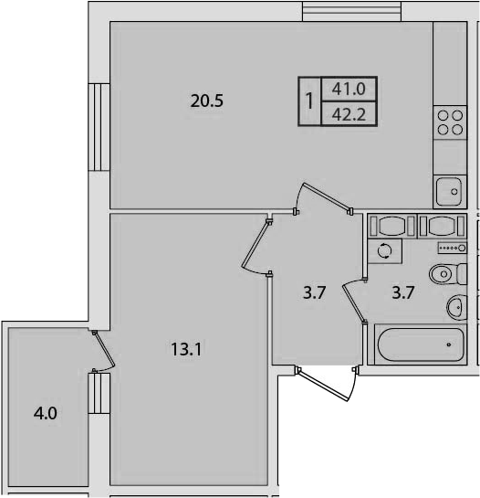 2Е-к.кв, 42.2 м², от 3 этажа