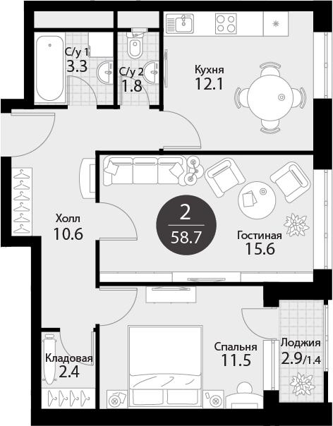2-к.кв, 60.1 м²