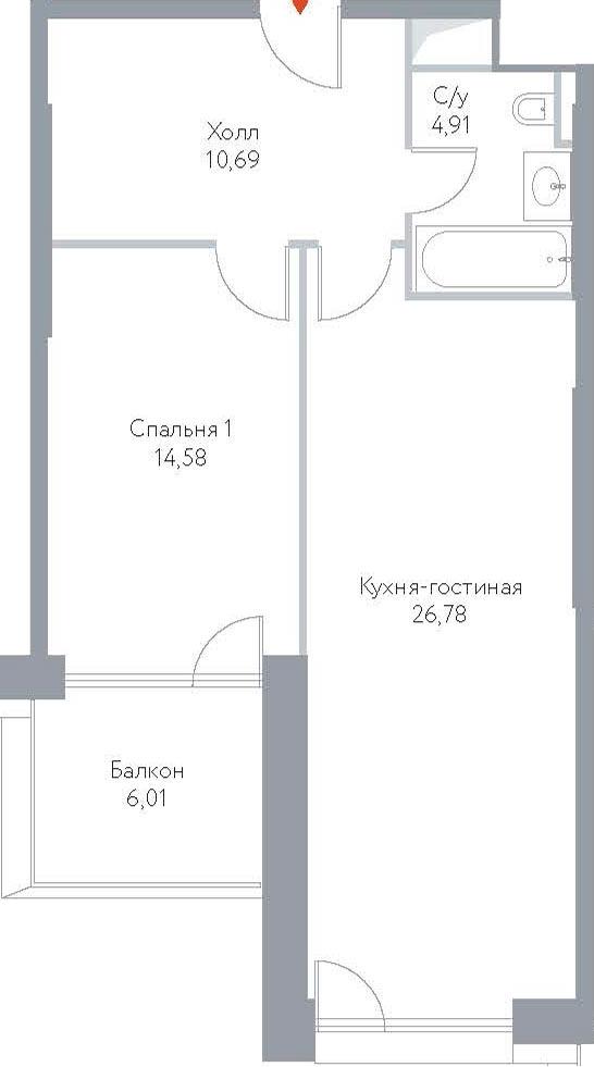 2Е-комнатная, 62.97 м²– 2
