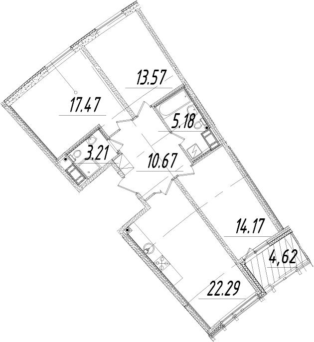 4Е-к.кв, 88.87 м², от 5 этажа
