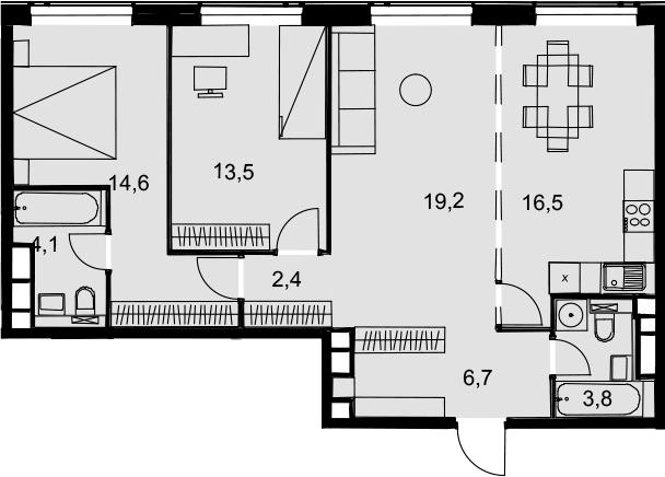 4Е-к.кв, 80.8 м², 33 этаж