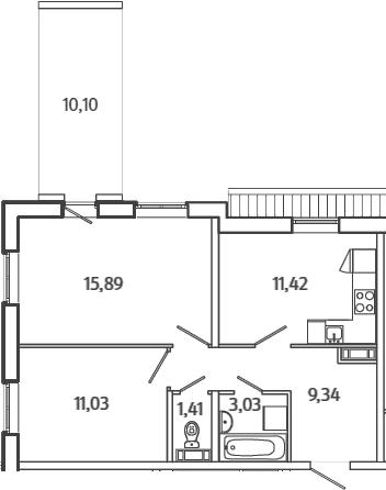 2-комнатная, 57.17 м²– 2